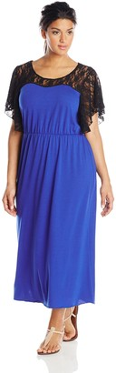 Star Vixen Women's Plus-Size Flutter Sleeve Lace Flange Maxi Dress