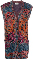 1980s Abstract Print Sleeveless Cardigan