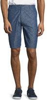 Neiman Marcus Mini Floral Cotton Shorts, Blue Indigo