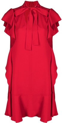 RED Valentino Tie-Neck Ruffle-Detail Mini Dress