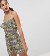 Fashion Union Tall Cami Romper With Ruffle In Vintage Ditsy Floral