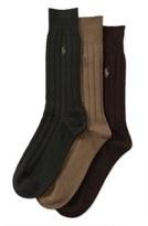 Polo Ralph Lauren Ribbed Crew Socks (3-Pack)