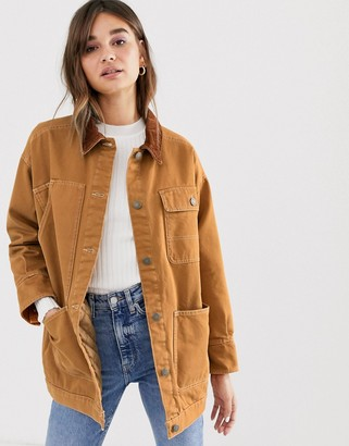 Monki denim jacket with quilted lining and cord collar in rust-Yellow