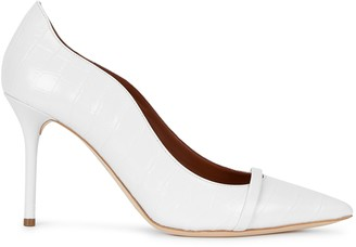 Malone Souliers Maybelle 85 White Crocodile-effect Pumps