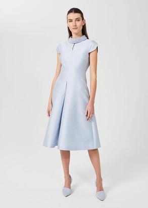 Hobbs Marcella Silk Wool Beaded Dress