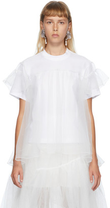 SHUSHU/TONG SSENSE Exclusive White Tulle Overlay T-Shirt