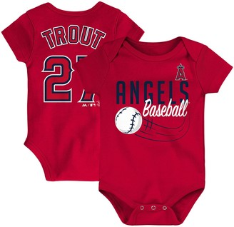 Majestic Newborn & Infant Mike Trout Red Los Angeles Angels Baby Slugger Name & Number Bodysuit