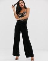 Asos Design DESIGN slinky wide leg pants with wrap waist
