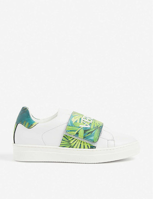 Versace Jungle-print branded leather trainers 8-10 years