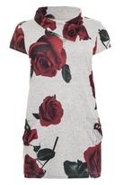 Quiz Curve Grey Light Knit Rose Print Tunic Dress