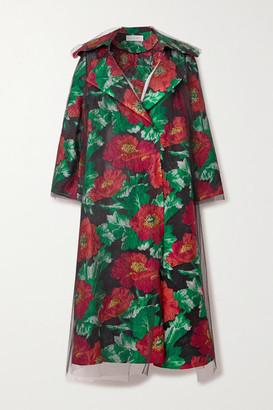 Oscar de la Renta Floral Brocade And Tulle Coat - Black