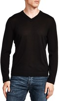 The Kooples Leather Trim Merino Wool V-Neck Sweater