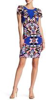 Robbie Bee Printed Short Sleeve Midi Dress