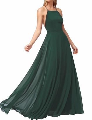 FANCYINN Women Spaghetti Strap Summer Prom Maxi Dresses Bridesmaid Formal Long Holiday Party Evening Dress Dark Green L