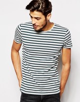 Scotch & Soda T-shirt With Stripe - Grey
