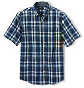 Classic Men's Tall Tailored Fit Short Sleeve Madras Shirt-Ivory Plaid