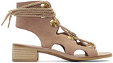 See by Chloe Beige Suede Lace-up Sandals