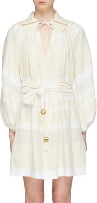 Lisa Marie Fernandez 'Poet' blouson sleeve sash tie stripe mini dress