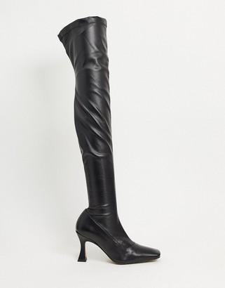 ASOS DESIGN Keisha premium stretch over-the- knee boots with interest heel