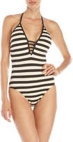 Ella Moss One-Piece Stripe Halter Swimsuit