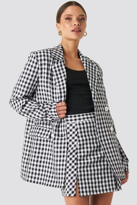 NA-KD Gingham Double Breasted Blazer Multicolor