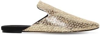 Sanayi313 10mm Canvas & Metallic Raffia Mules