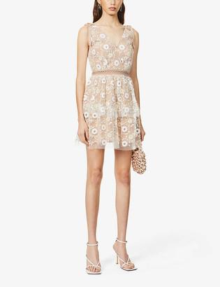 Self-Portrait Sequin-embellished mesh mini dress