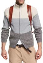 Brunello Cucinelli Donegal Colorblock Zip-Front Cardigan, Gray