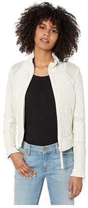 Blanc Noir Perforated Leather Moto Jacket (Bone) Women's Clothing
