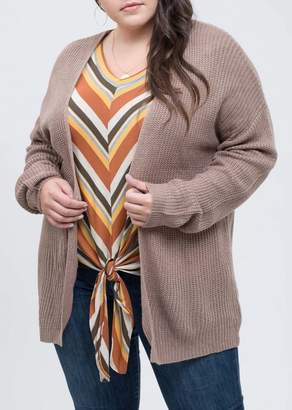 Blu Pepper Braided Back Knit Cardigan (Plus Size)