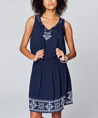 J. Jill J.Jill Women's Casual Dresses EVRYDYBLUM - Everyday Blue Embroidered Smocked-Waist Sleeveless Dress - Women & Plus