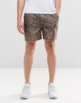 Asos Slim Short Shorter Length Shorts With Abstract Khaki Print