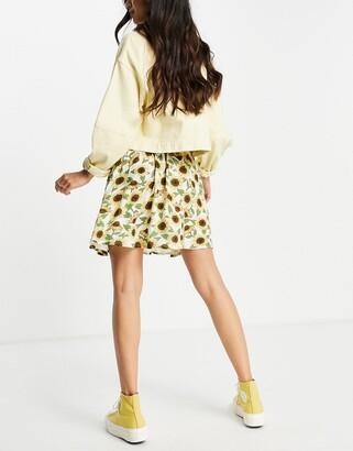 Monki Malina mini skater skirt in yellow sunflower