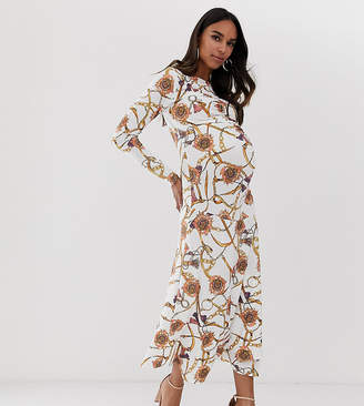 Queen Bee long sleeve ruched midaxi dress in white vintage chain print-Yellow