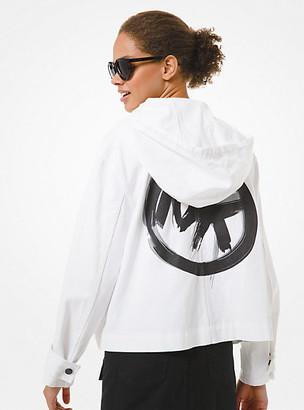 MICHAEL Michael Kors MK Brushstroke Logo Denim Cropped Anorak - White - Michael Kors