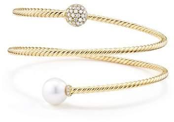 David Yurman Solari Coil Bracelet with Cultured Akoya Pearl and Diamonds in 18K Gold