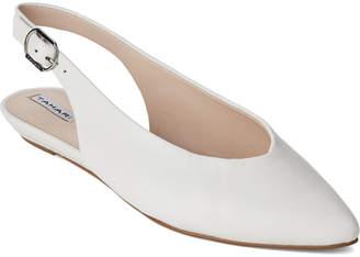 Tahari Safia White Salma Slingback Leather Flats