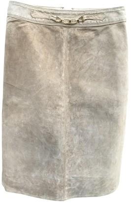 Celine Beige Leather Skirt for Women Vintage