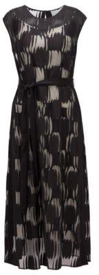 HUGO BOSS Layered Dress In Lightweight Fabric With Broken Dot Motif - Patterned