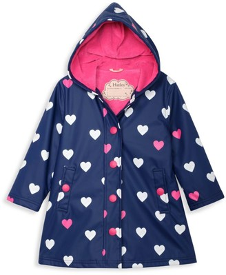 Hatley Little Girl's & Girl's Striped Hearts Color-Changing Raincoat