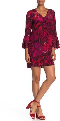 Trina Turk Splendid Floral Bell Sleeve Jacquard Sheath Dress
