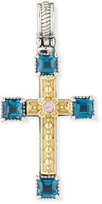 Konstantino 18k Topaz & Sapphire Cross Charm