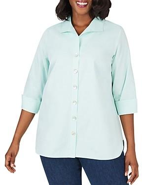 Foxcroft Plus Pandora Non-Iron Cotton Tunic Shirt