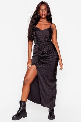 Nasty Gal Womens You Shine Plus Satin Maxi Dress - Black - 16