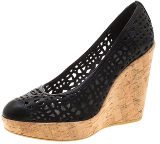Stuart Weitzman Black Perforated Leather Nudotcomer Platform Cork Wedge Pumps Size 39