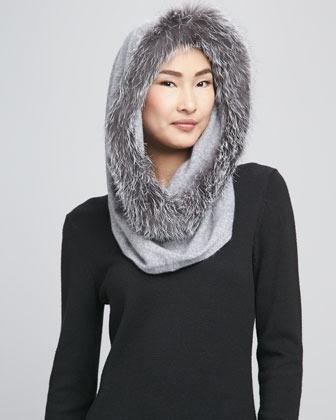 Sofia Cashmere Fox Fur-Trim Snood, Gray