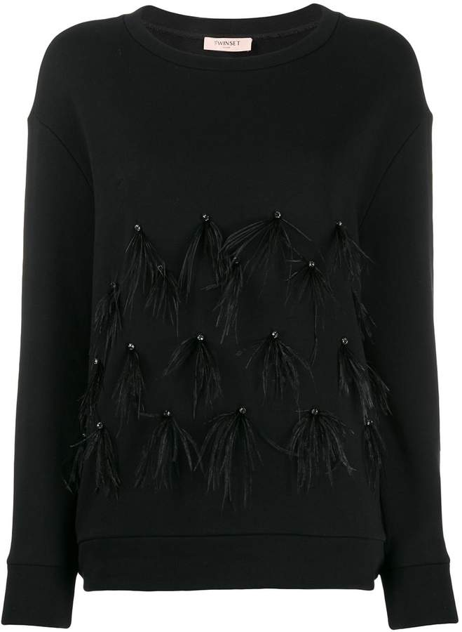 Twin-Set feathered sleeve jumper
