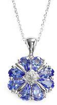 Sterling Silver Tanzanite & Diamond Accent Flower Pendant