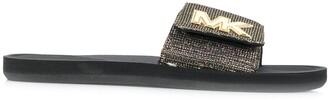 MICHAEL Michael Kors Metallic-Strap Logo Slides