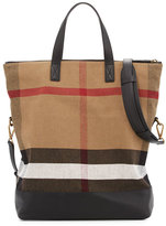 Burberry Armley Men's House Check Canvas & Leather Tote Bag, Black